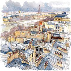 Tejados de París - Du haut de la terrasse de la Samaritaine, 1er Arrondissement - Fabrice Moireau