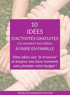 Des idées simples et efficaces pour occuper ses enfants sans plomber son budget. #activitesenfants #kidsactivities #enfamille #family #famille #budget #economie #lacourdespetits