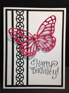I LOVE that lattice flowery looking border on the left of this card. It's a fun to look at and fun to play with. At first I wasn't all ...