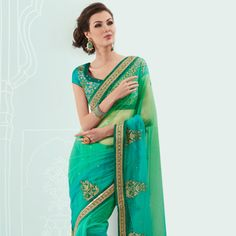 Shaded Parrot Green and Turquoise Green Net Saree with Blouse