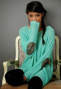 Sequin elbow patch mint sweater fashion style, I love this colour . Boutique Fashion, A Boutique, Fall Winter Outfits, Autumn Winter Fashion, Fall Fashion, Mint Sweater, Slouchy Sweater, Comfy Sweater, Sequin Sweater