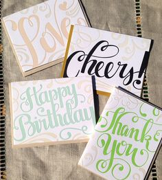 Friendly Letterpress Cards – Set of 4 | Gifts Cards & Stationery | Concrete Lace | Scoutmob Shoppe | Product Detail