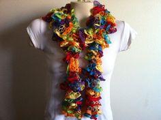 Multi Rainbow Ruffled Scarf in Colorful  Fashion by zahraknitting, $20.90