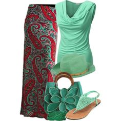 """paisley and green"" by cavell on Polyvore...love the skirt..lose the hat and purse!"