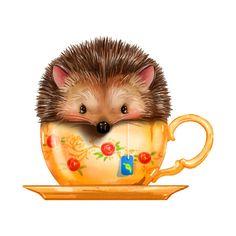 Cute Hedgehog, Emoji, Hedgehogs, Squirrels, Tea Party, Folk Art, Coffee Cups, Bird, Animals
