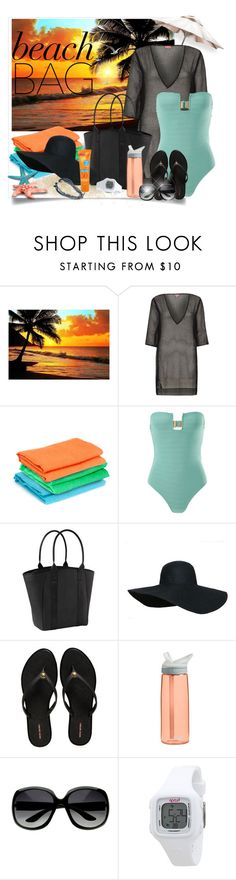"""""""Day to Night Beach Bag"""" by mharvey ❤ liked on Polyvore featuring River Island, FB Collection, Prism, Athleta, Henri Bendel, CamelBak, Kiss My Face, Rip Curl, Missoni and Beachbag"""