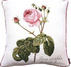 coussin 50x50cm Rosa centifolia- redouté. Tissé en France par Tissage Art de Lys