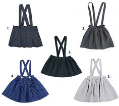 Girls skirts with suspenders, faldas para niñas con tirantes