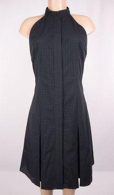 PROENZA SCHOULER Dress Size 8 M Black Pleat Flare Skirt Eyelet Mesh Cut #ProenzaSchouler #Casual