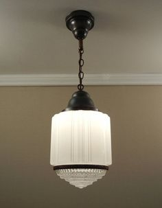 Antique Art Deco Pendant Light Vintage by VintageGlassLights