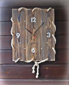 """Купить Часы настенные """"Палуба"""" - коричневый, часы, часы настенные, часы в морском стиле"""