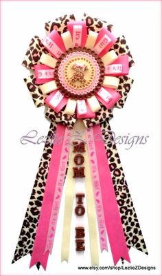 Pink Leopard Baby Shower Corsage Safari Girl Mommy to Be Pin -Cheetah Spots Onesie Theme Clay Favor Badge -Rose Pink Jungle Ribbon Capia Mum by lezliezdesigns. Explore more products on http://lezliezdesigns.etsy.com