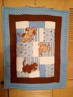 Puppy Baby Quilt Minky Flannel Blanket  Patchwork Flannel Back Boy Blanket 35 x 46