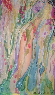 "Author: Beata Anna Wozniak ""bettyanne"". A fragment of my silk (handpainted), titled: ""The Summer Garden"". London, 12th August 2015. / Autor: Beata Anna Woźniak ""bettyanne"". Fragment mojego jedwabiu (ręcznie malowanego), zatytułowanego: ""Letni ogród"". Londyn, 12 sierpnia 2015. Silk Shawl, Unique Christmas Gifts, Create Image, Summer Garden, Artist Names, Pure Silk, Anna, Hand Painted, Fine Art"