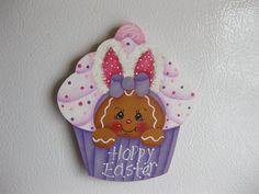 HP Gingerbread Easter cupcake ginger FRIDGE MAGNET hand painted wood