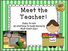 Meet the Teacher!The dreaded first time the kids come....  Supplies everywhere, papers that don't get returned, and you want to pull your hair out!NO MORE!This packet includes easy to set up stations to make the first time you meet your kids/parents a FUN experience without all the craziness!*  5 Easy to set up stations - sort those supplies, get binders organized, ask for volunteers, get paperwork filled out, and even a little treat!*  Everything you need in one packet with all the signs…