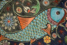 bohemian folk art orange aqua blue japanese good luck koi fish Duvet Cover by chicelegantboutique - Queen: x Nikon D7000, Tile Art, Mosaic Art, Mosaic Tiles, Folk Art Fish, Photo Café, Sea And Ocean, Flower Images, Psychedelic Art