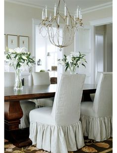 slipped parsons chairs for breakfast room, better homes and garden Room Chairs, Dining Chairs, Dining Rooms, Dinning Room Chair Covers, Dining Table, Diy Chandelier, Italian Chandelier, Vintage Chandelier, Parsons Chairs