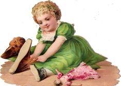 Oblaten Glanzbild scrap die cut chromo Kind child Puppe doll Baby