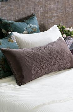 An exquisite collection of designer bed linen, quilts, bedspreads, comforters, silk filled products and linen fabrics all handcrafted from natural fibres. Bed Linen Design, Bed Design, Bolster Cushions, Bed Pillows, Linen Fabric, Linen Bedding, Fine Linens, Contemporary Interior, Bed Spreads