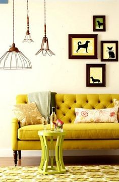 Mustard yellow couch.