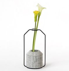 Weight Vases by Decha Archjananun - a series of vases in several sizes and shapes with concrete bases to hold water and wire frames to support flower stems.