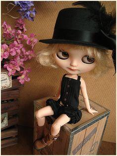 Blythe   Babydoll Playsuit   Deep Black   Blythe doll outfit   Blythe clothes   Blythe romper   onesie