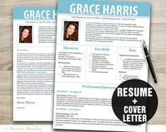 Photo Resume Template  Cover Letter Template  by BusinessBranding