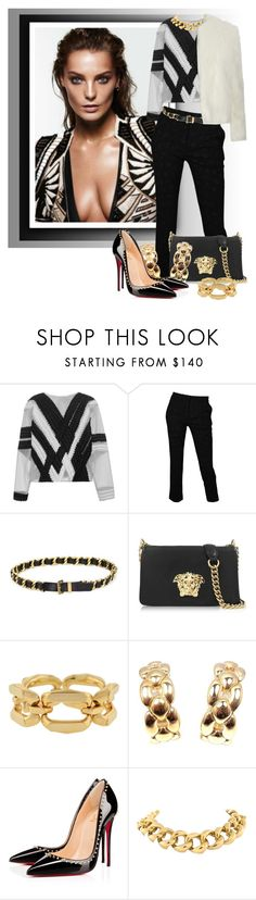 """""""Black&White With A Touch Of Gold"""" by diva1023 ❤ liked on Polyvore featuring Jonathan Simkhai, Roberto Cavalli, Chanel, Versace, Cartier, Christian Louboutin, Seaman Schepps and Dorothy Perkins"""