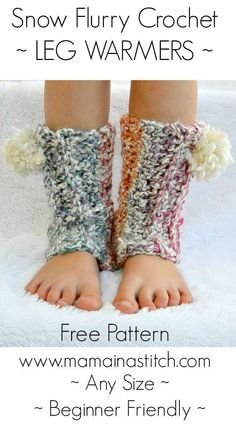 Beginner Friendly Easy Crochet Leg Warmer Pattern - Cozy and soft for fall and winter. Make them with or without poms.