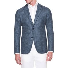 Giorgio Armani Solid Melange Two-Button Jacket ($2,135) ❤ liked on Polyvore featuring men's fashion, men's clothing, men's outerwear, men's jackets, mens blue jacket and mens grey jacket