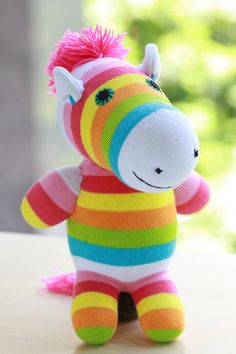 T8 Stuffed Zebra doll toy  plush  Colored zebra by Toyapartment