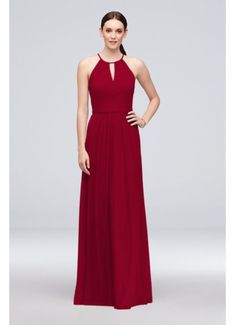 3ec9d5f4252 High-Neck Long Mesh Bridesmaid Dress with Keyhole Style F19888