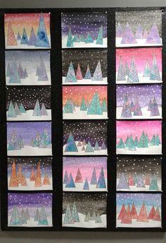 a faithful attempt: Contemporary Evergreen Trees Mixed Media Collage - Modern Christmas Art For Kids, Sargent Art, Winter Art Projects, Artists For Kids, Unique Paintings, Evergreen Trees, Kids Artwork, Kindergarten Art, Winter Trees