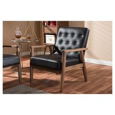 Sorrento Mid - Century Retro Modern Faux Leather Upholstered Wooden Lounge Chair - Dark Brown - Baxton Studio