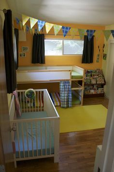 boy/girl room share, ikea kura bunk bed, first step of ladder removed for toddler safety, only big brother can get to the top!