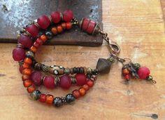Le Temps Des Cerises !!!!!: Une parure bracelet et boucles d'oreille offertes, le bracelet 3 rangs est composé de perles : Parure par les-reves-de-minsy
