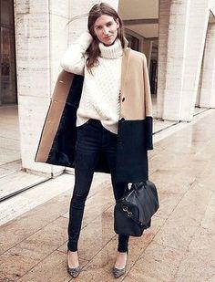 cozy turtleneck, colorblocked coat, skinnies