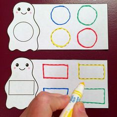 ghost shape tracing for fine motor and pre-writing skills. childcareland.com/home/ghost-shape-tracing #kindergarten #preschool #prek #daycare #childcare #ece #earlyed #finemotorskills