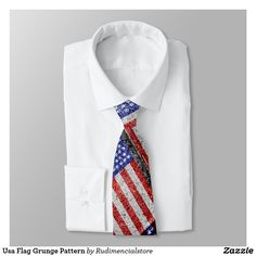 4th of July Usa Flag Pattern Zazzel Tie