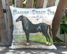 Schleswig Horse Pillow - French Country Horse Pillow - Black Horse Pillow - 18x18 20x20 22x22 24x24 Inch Linen Cotton Burlap Pillow Cover