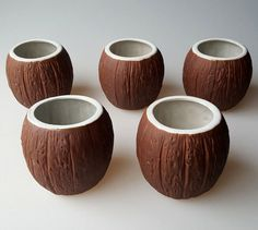 5 Orchids of Hawaii coconut shell tiki bar cups mugs heavy stoneware R-13A