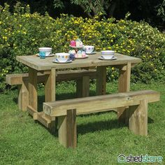 Furniture-Plus Refectory Table Bench Garden Table and Bench Set