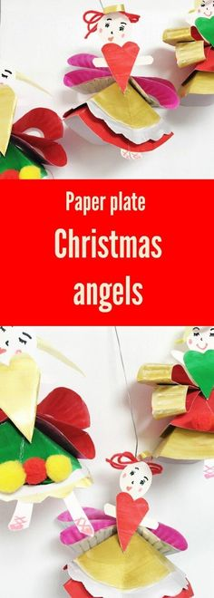 Christmas Crafts : Illustration Description Paper plate Christmas Angels, and adorable craft idea for kids by Oh Creative Day for The Craft Train Paperplate Christmas Crafts, Christmas Crafts For Kids To Make, Easy Crafts For Kids, Christmas Activities, Kids Christmas, Kid Crafts, Kids Holidays, Merry Christmas, Paper Plate Art