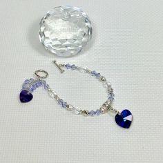 Heart charm bracelet, crystal bracelet, dangle bracelet, everyday bracelet, gift idea her, purple bracelet, girlfriend gift