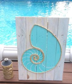 Handmade Nautilus Shell with Rope Beach Pallet by BeachByDesignCo