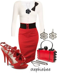 """""""Red & Black Clutch"""" by stephiebees on Polyvore"""