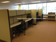 used office cubicles assembled and reconfigured in Washington DC by Furniture Assembly Experts LLC