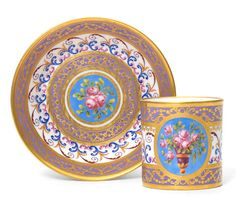 A Sèvres cup and saucer, circa 1788