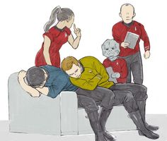 Leonard H. McCoy, James T. Kirk, Montgomery Scott, Nyota Uhura, Keenser || Star Trek AOS